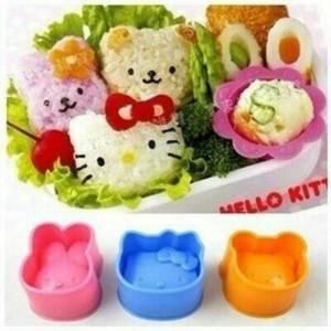 Cetakan nasi isi 3 Bunny Kitty Bear