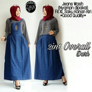 2 in1 overall, jeans wash, fit XL