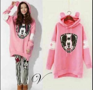 FG - setelan baju dengan hoodie+legging salur (mickey stripe hoodie VL