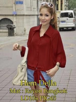FG - [ Hem Della SW] pakaian wanita kemeja warna merah