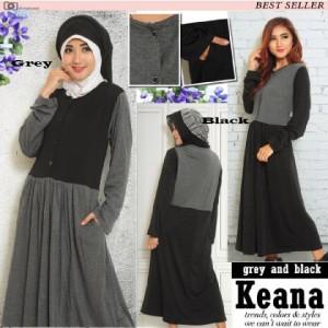 FG - [ Tunic Keana AY] pakaian wanita muslim warna hitam dan abu