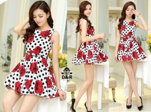 FG - [d499 dress gween DR] pakaian wanita dress motif polkadot dan bun