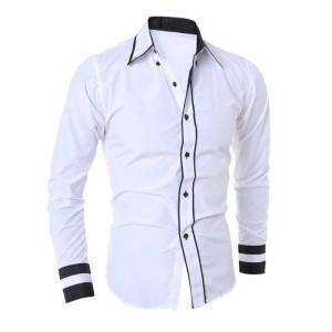 FG - [hem randhy white OT] pakaian pria kemeja slim fit warna putih SP
