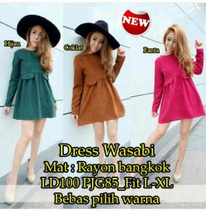 FG - [ dress wasabi SW] pakaian wanita dress korea warna fanta hijau c