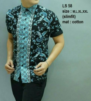 Baju Batik Pria Modern Slimfit Lengan Pendek LS 58