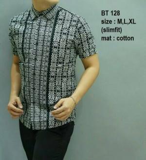 Kemeja Batik Pria Modern Slim Fit Lengan Pendek BT 128
