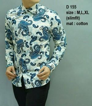 Baju Batik Pria Modern Slimfit Lengan Panjang D 155