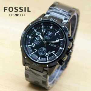 JAM FOSSIL PRIA DATE SIMPLE KLASIK FULL BLACK