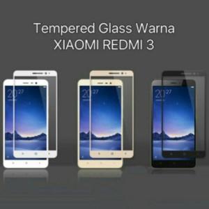 Xiaomi Redmi 3 Anti Gores Tempered Glass Warna Screen Guard Color