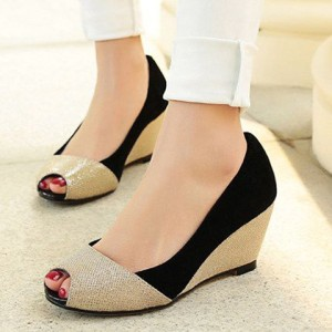 Sepatu Wanita Wedges Electric Hitam