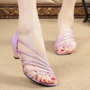 Sepatu Wanita Wedges Ungu R4