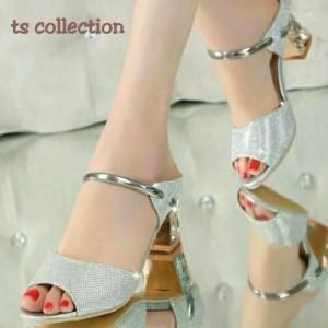 Sepatu Wanita Wedges Tahu Bling Silver