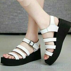 Sepatu Wanita Sendal Wedges Spons Putih Ars05
