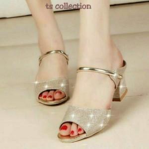 Sepatu Wanita Wedges Tahu Bling Gold