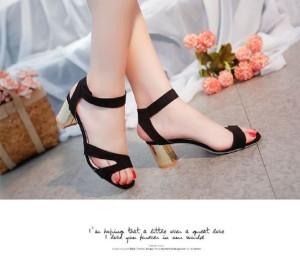 Sepatu Wanita Wedges Tahu Hitam