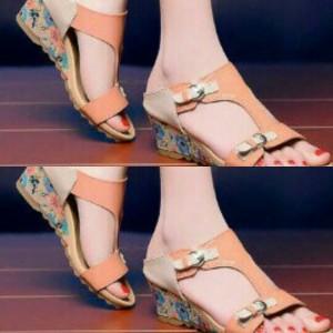 Sepatu Wanita Wedges Orange 5E
