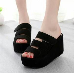 Sepatu Wanita Sendal Wedges Santai 59 Hitam