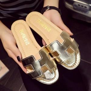 Grosir Sepatu Wanita Murah - Flat Hermes Gold TR11