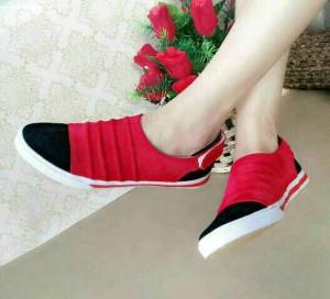 Grosir Sepatu Wanita Murah - Flat Shoes Sneacker Merah