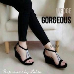 Grosir Sepatu Sandal Wanita Murah - Wedges Hitam V R33