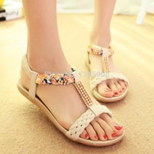 Grosir Sepatu Wanita Murah - Sendal flat kepang cream