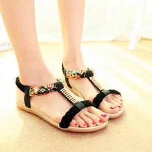 Grosir Sepatu Wanita Murah - Sendal / Sandal Flat Kepang Hitam DO3