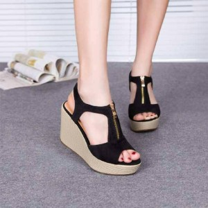 Grosir Sepatu Sandal Wanita Murah - Wedges Hitam RW01
