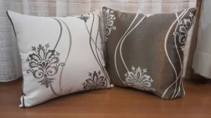 Sarung Bantal Sofa Kursi Klasik Salur Bunga Krem Coklat Cushion Cover