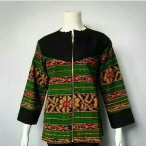 Baju Tenun Blanket Spesial Resleting Depan