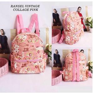 ransel mini tas anak kids pink vintage collage pink motif gambar anak