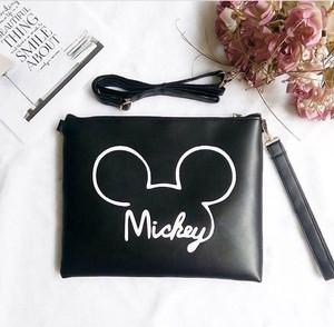 clutch tas tenteng mini sling hand bag mickey black hitam polos lucu m