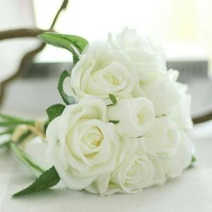 Cyril Rose Bouquet White Wedding Flower Decor Artificial