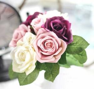 Cyril Rose Bouquet Purple Artificial Wedding Flower Bunga Imitasi Deco