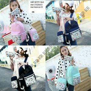 tas ransel / backpack set 3in one motif hello kitty