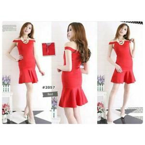 Dress Red #57 Red Only, bahan wedges scuba LD 75-88 cm, Pjg 80 cm