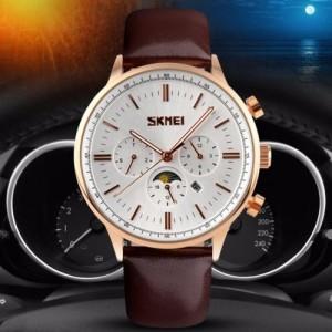 Jam tangan SKMEI 9117 Original Chronograph Casual Kulit white