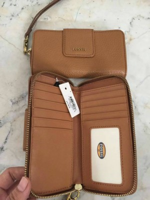 Dompet Fossil Maddison Zipped Multi Saddle Original