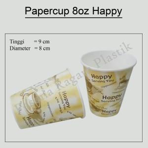 """Papercup 8oz """"Happy""""/Gelas Kertas Motif/Cup Motif"""