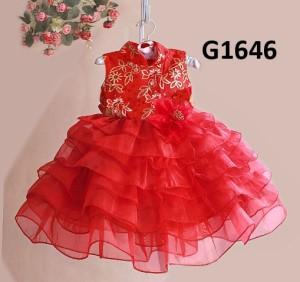 SALE ORIGINAL DRESS IMLEK MERAH G1646, ANAK PEREMPUAN 1-7T