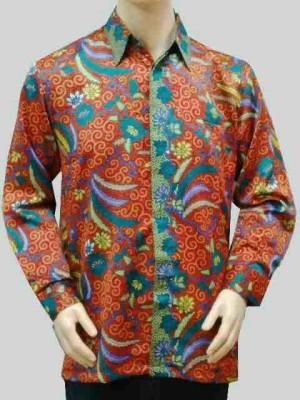 Kemeja Batik Lengan Panjang Daun Bunga