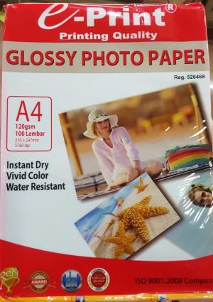 E-PRINT GLOSSY PHOTO PAPER A4 120GSM 100 LEMBAR 120 GR KERTAS PRINTER