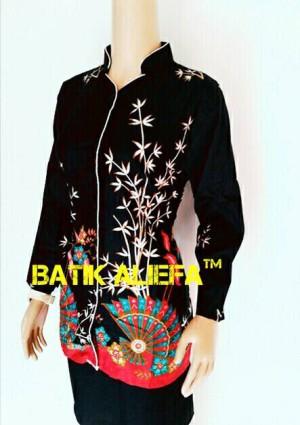 Blouse Batik Wanita Kipas Hitam