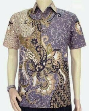 Kemeja Hem Batik Pria Naga Abu