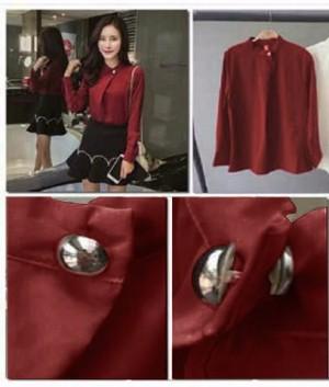 FG - [Blouse Masaki SW] blouse wanita wolly crepe merah