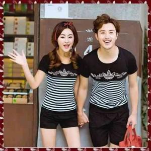FG - [Cp T Shirt Adidas Flower LT] baju couple combed spandex hitam SP