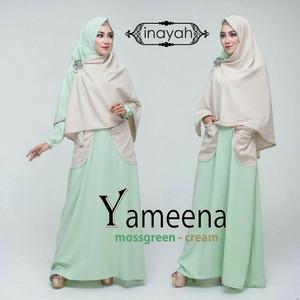 Gamis Syari Yameena Mossgreen-Cream