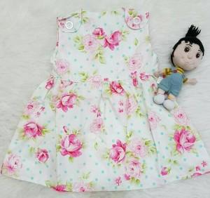 dress katun flower white pink /dress bayi murah/baju anak lucu