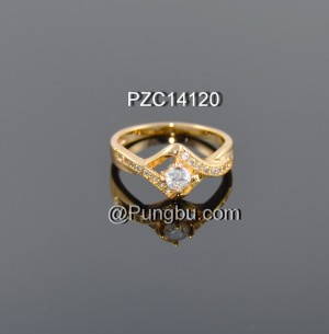 Cincin emas motif segi 4 segiempat PZC14120