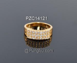 Cincin emas 3 tiga baris permata zirconia sirkon PZC14121