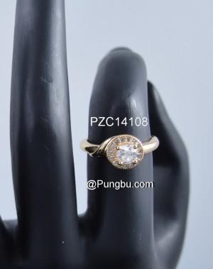 Cincin emas bulat Zircona PZC14108
